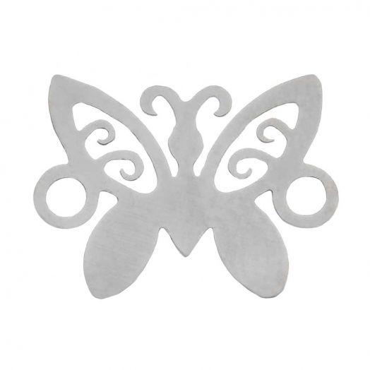 Edelstahl Zwischenstück 2 Ösen Schmetterling (12 x 9 mm) Altsilber (5 Stück)