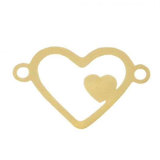 Edelstahl Zwischenstück 2 Ösen Herz (15 x 9 mm) Gold (5 Stück)