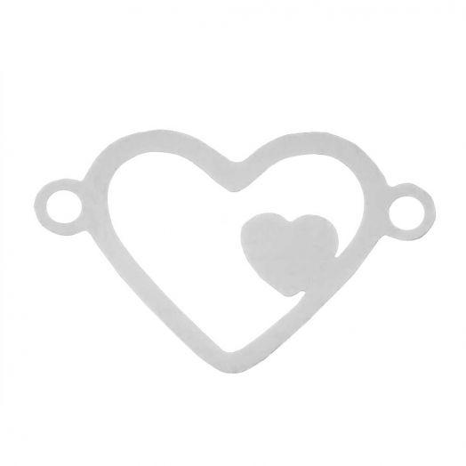 Edelstahl Zwischenstück 2 Ösen Herz (15 x 9 mm) Altsilber (5 Stück)