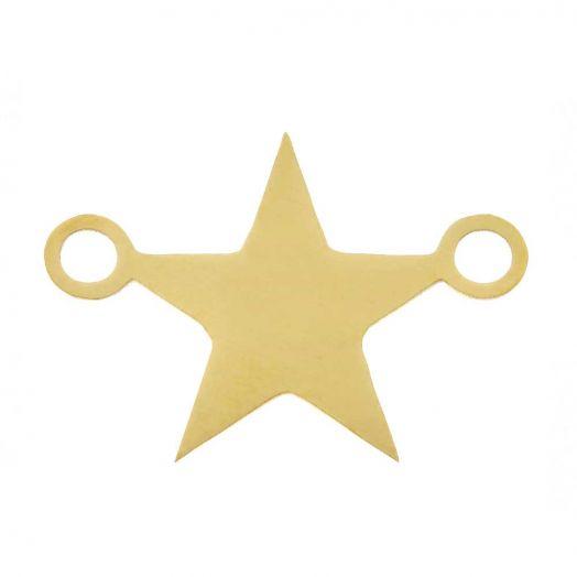 Edelstahl Zwischenstück 2 Ösen Stern (15 x 11 mm) Gold (5 Stück)