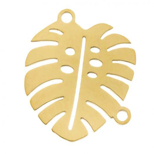 Edelstahl Zwischenstück 2 Ösen Blatt (16 x 13 mm) Gold (5 Stück)