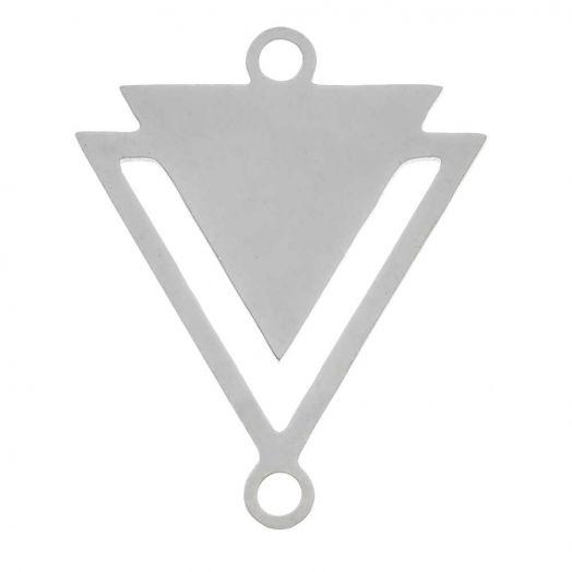 Edelstahl Zwischenstück 2 Ösen Dreieck (19 x 16 mm) Altsilber (5 Stück)