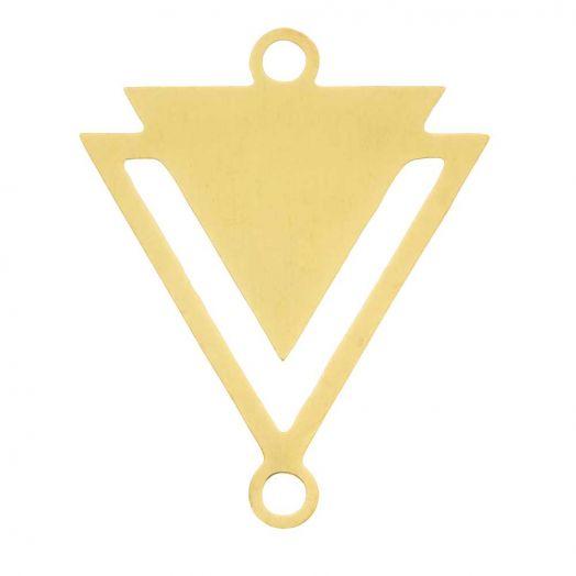 Edelstahl Zwischenstück 2 Ösen Dreieck (19 x 16 mm) Gold (5 Stück)