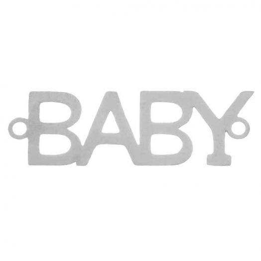 Edelstahl Zwischenstück 2 Ösen Baby (29 x 9 mm) Altsilber (5 Stück)