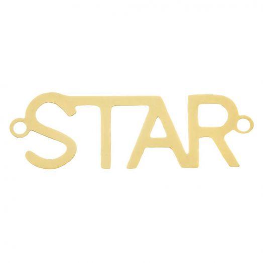Edelstahl Zwischenstück 2 Ösen Star (29 x 9 mm) Gold (5 Stück)