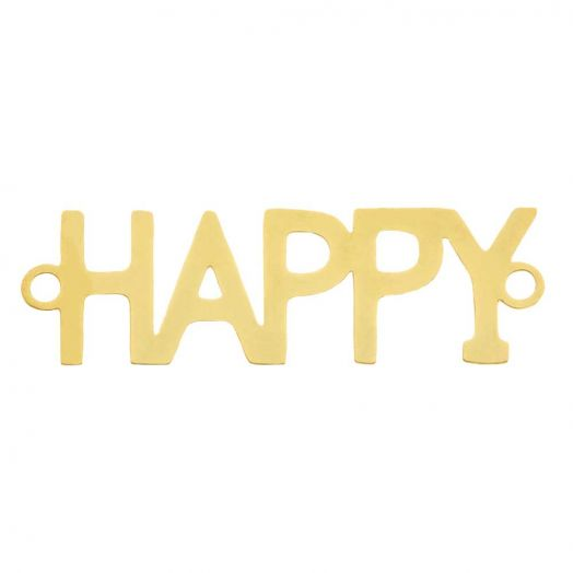 Edelstahl Zwischenstück 2 Ösen Happy (29 x 9 mm) Gold (5 Stück)