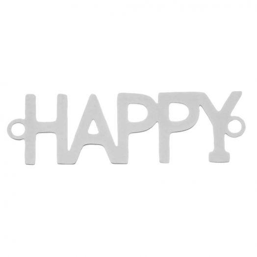 Edelstahl Zwischenstück 2 Ösen Happy (29 x 9 mm) Altsilber (5 Stück)