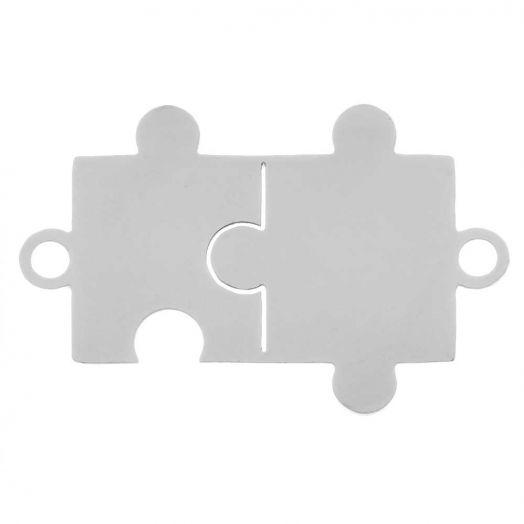 Edelstahl Zwischenstück 2 Ösen Puzzle (21 x 13 mm) Altsilber (5 Stück)