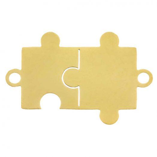 Edelstahl Zwischenstück 2 Ösen Puzzle (21 x 13 mm) Gold (5 Stück)