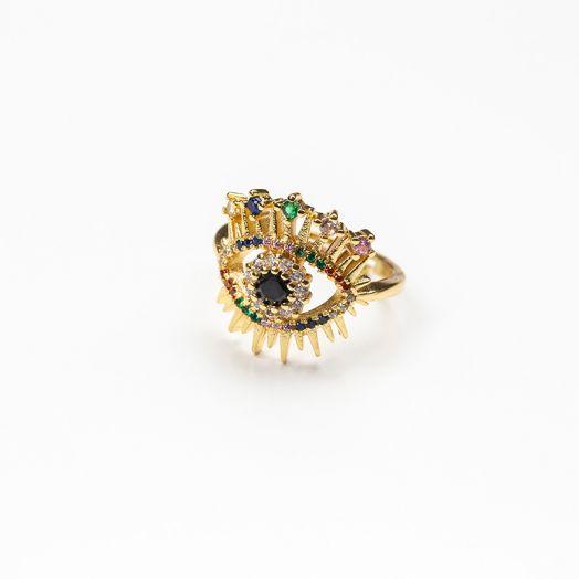 Verstellbarer Ring mit Regenbogen Strass Steinen (17 mm) Gold (1 Stück)