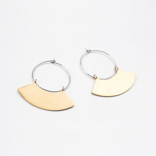 Edelstahl Ohrringe Fächer (48 mm) Gold (2 Stück)