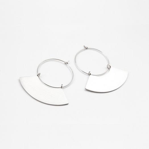 Edelstahl Ohrringe Fächer (48 mm) Altsilber (2 Stück)