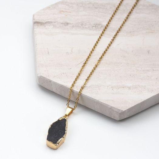 Edelstahl Kette mit Druzy Pendant Black (45 cm) Gold (1 Stück)