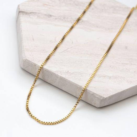Edelstahl Gliederkette mit kleinen Elementen (50 cm) Gold (1 Stück)