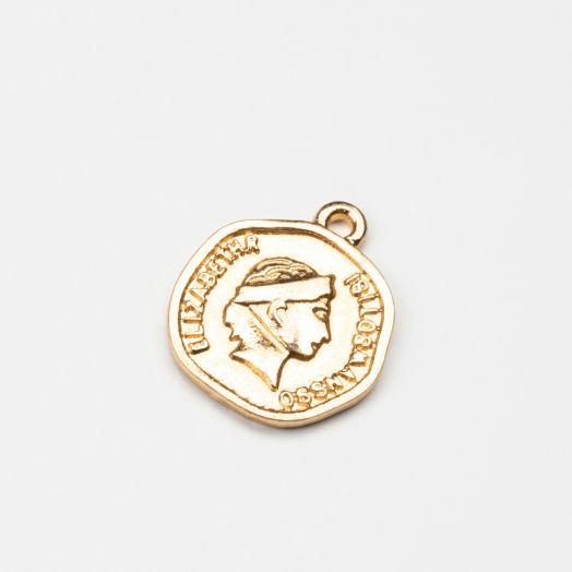 Charm Münze (15 x 1 mm) Gold (5 Stück)