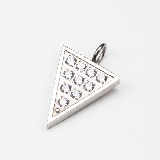 Charm Dreieck mit Strass Steinen (20 x 15 mm) Altsilber (1 Stück)